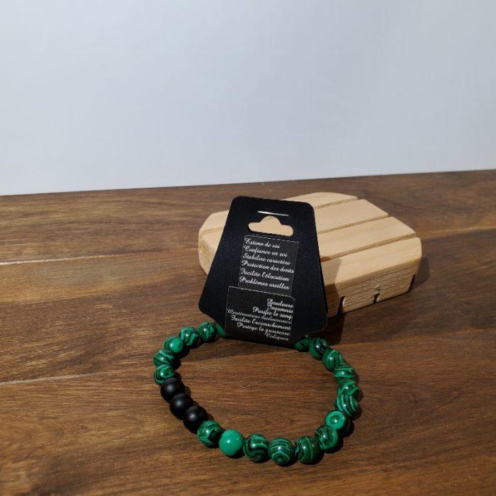 bracelet onyx et malachite